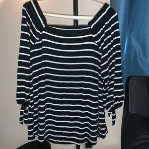 Off the shoulder, striped black and white shirt